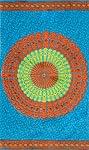マンダラ柄のカラフルコットンルンギー - 水色