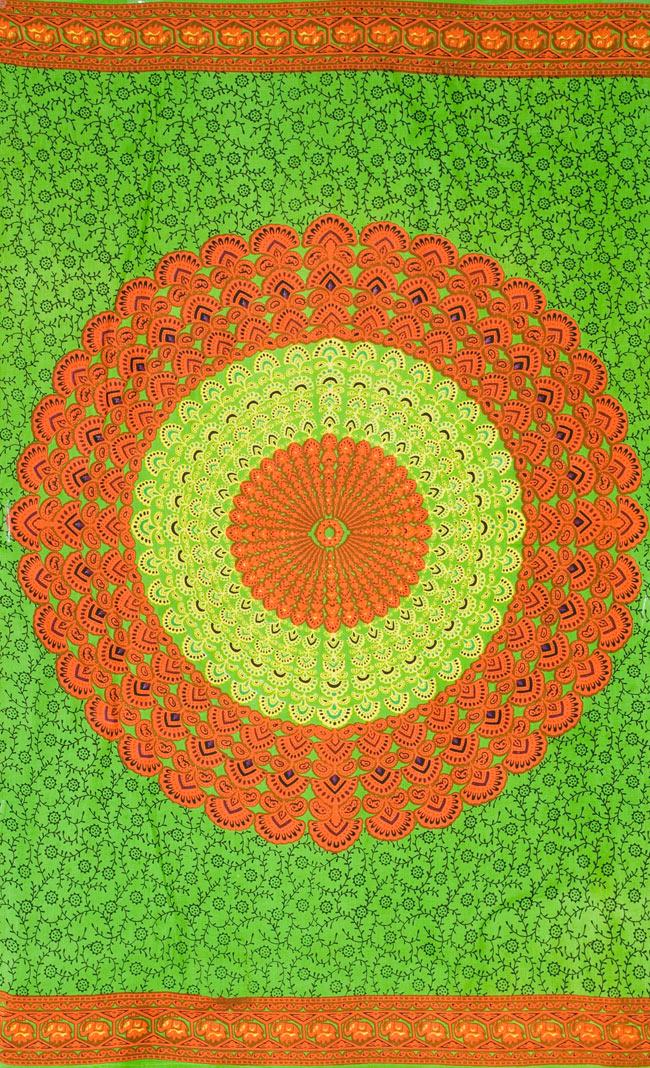 マンダラ柄のカラフルコットンルンギー  - 黄緑の写真