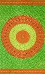 マンダラ柄のカラフルコットンルンギー  - 黄緑