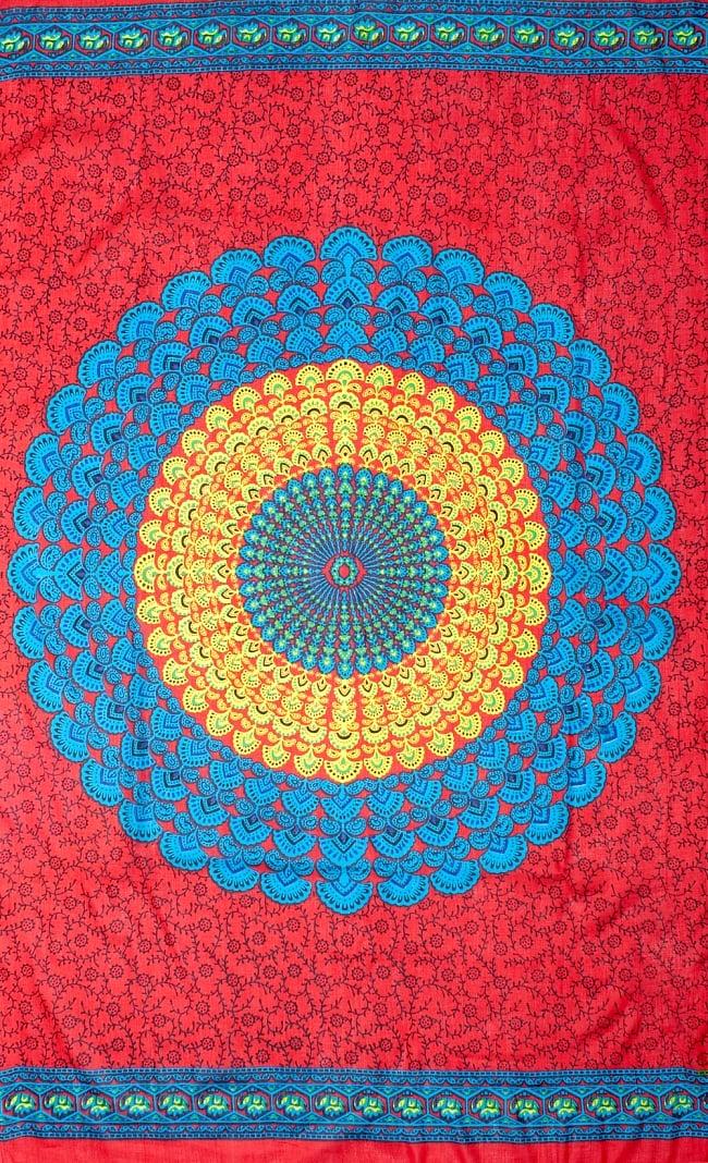 マンダラ柄のカラフルコットンルンギー - 赤の写真