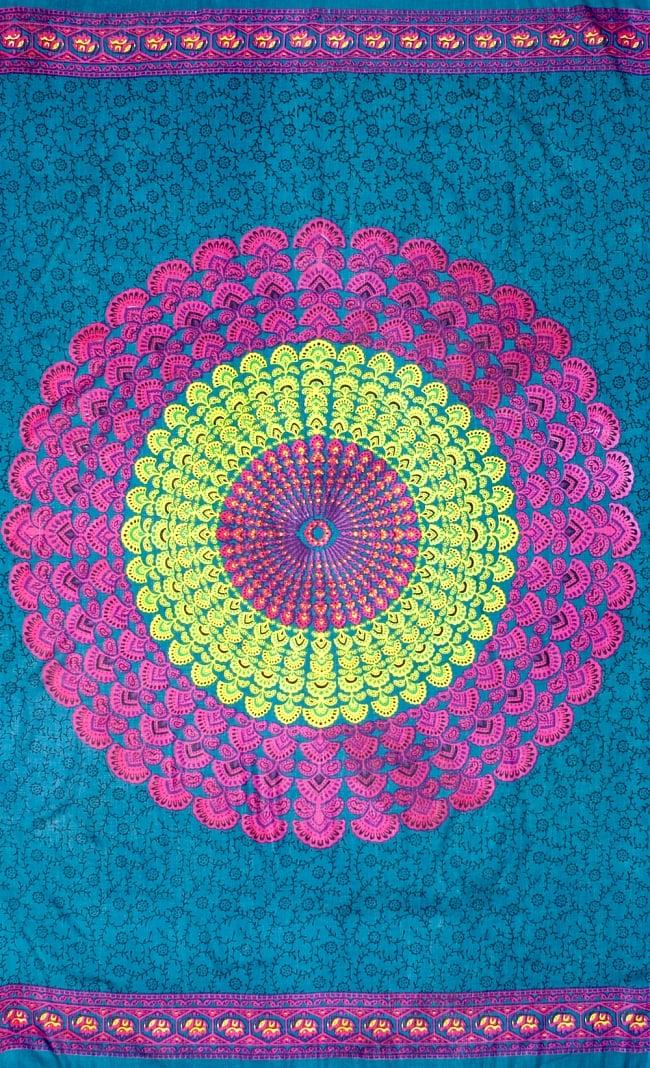 マンダラ柄のカラフルコットンルンギー - 青緑の写真