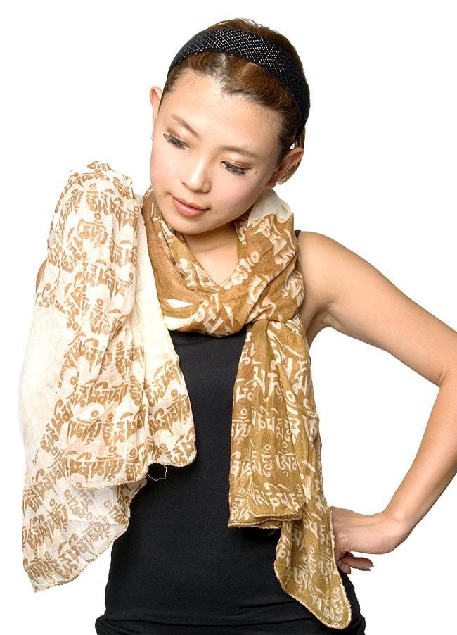 [160cm×70cm]ヒストリーブッダのファンシーストール - 水色の写真6 - スカーフにしてもかさばらないですよ