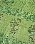 ウッドブロックのコットンスカーフ - ペイズリー 緑