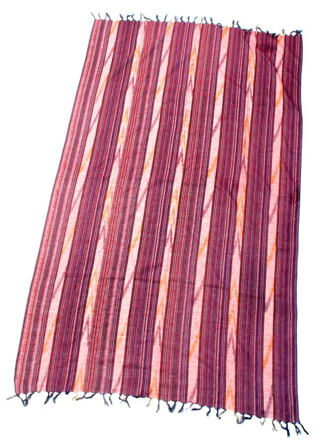 〔170cm×100cm〕ヘビーイカットルンギー - 赤×グレー系の写真2 - 全体の写真です