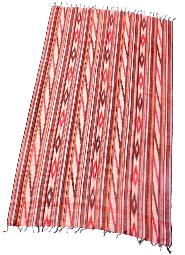 〔170cm×100cm〕ヘビーイカットルンギー - オレンジ×白×ピンク×黒系の写真2 - 全体の写真です