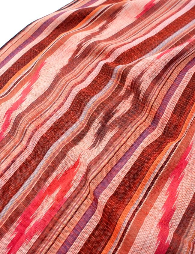〔170cm×100cm〕ヘビーイカットルンギー - オレンジ×白×ピンク×黒系の写真4 - インドコットン生地が使われています