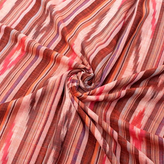 〔170cm×100cm〕ヘビーイカットルンギー - オレンジ×白×ピンク×黒系の写真5 - 色彩の国、インドらしい美しい配色。差し色として素敵です。