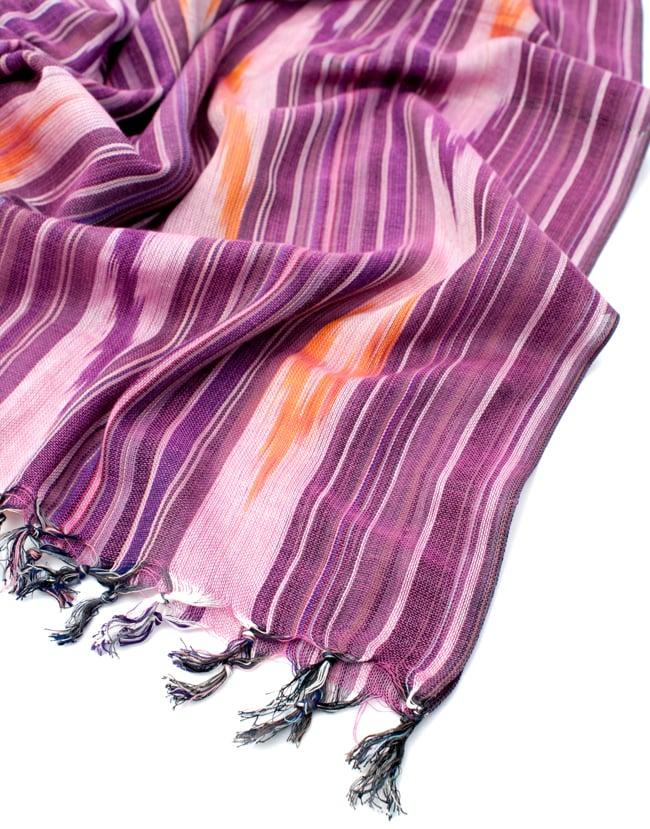 〔170cm×100cm〕ヘビーイカットルンギー - 紫系の写真6 - フリンジの写真です