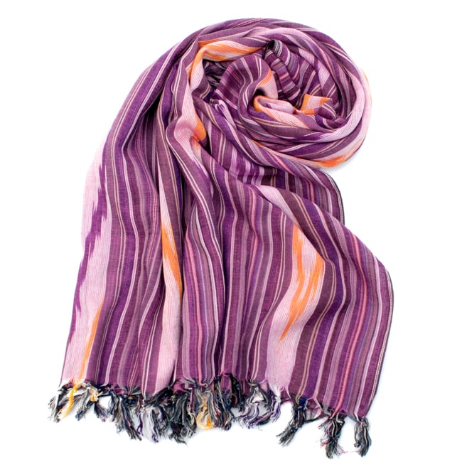 〔170cm×100cm〕ヘビーイカットルンギー - 紫系の写真