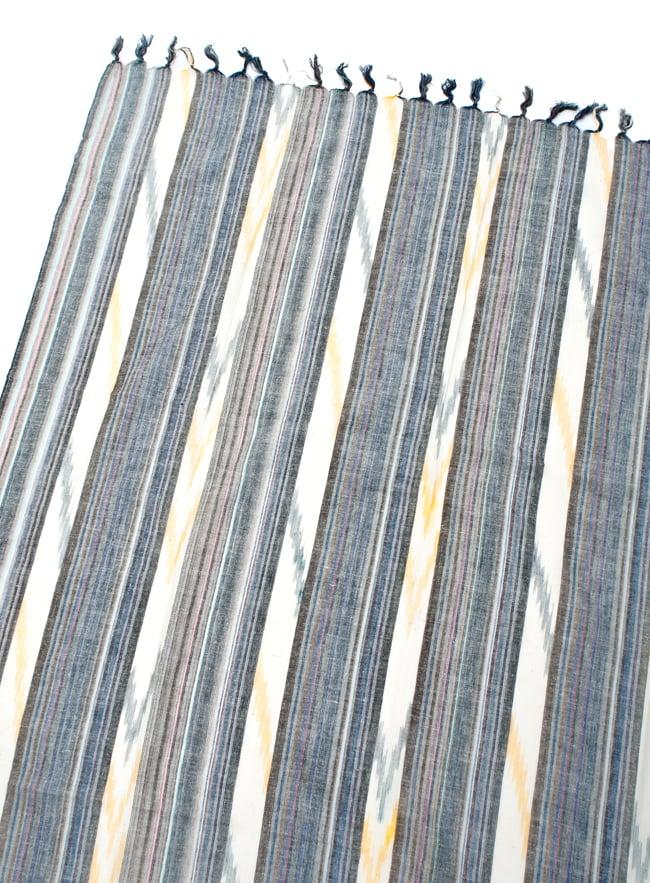 〔170cm×100cm〕ヘビーイカットルンギー - 薄青×クリーム系の写真3 - 拡大写真です