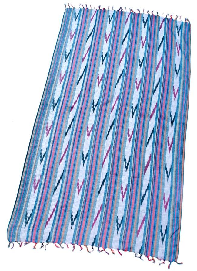 〔170cm×100cm〕ヘビーイカットルンギー - 青×オレンジ系の写真2 - 全体の写真です