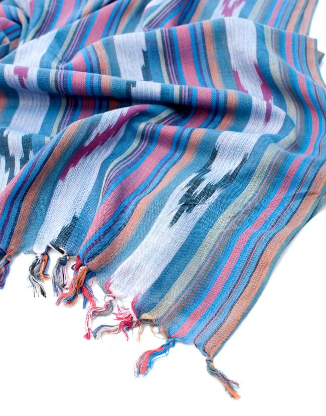 〔170cm×100cm〕ヘビーイカットルンギー - 青×オレンジ系 6 - フリンジの写真です
