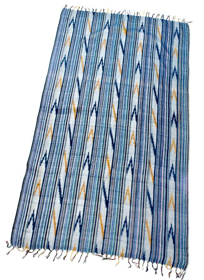 〔170cm×100cm〕ヘビーイカットルンギー - 青×黄色系の写真2 - 全体の写真です