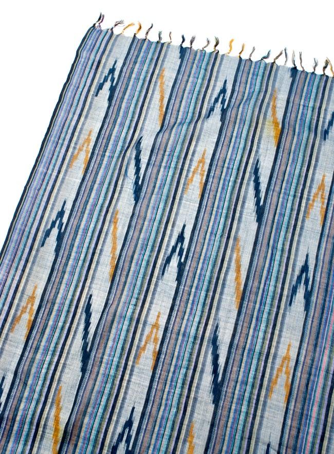 〔170cm×100cm〕ヘビーイカットルンギー - 青×黄色系の写真3 - 拡大写真です