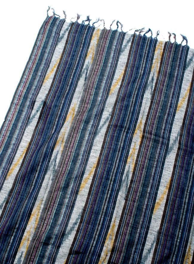 〔170cm×100cm〕ヘビーイカットルンギー - 紺×青×白系の写真3 - 拡大写真です