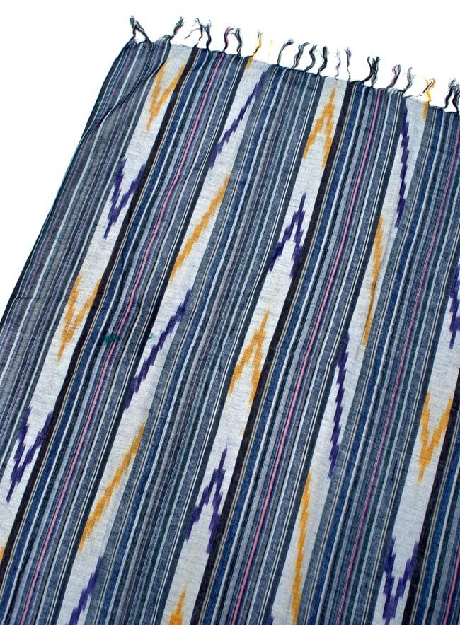〔170cm×100cm〕ヘビーイカットルンギー - 青×紫×白系の写真3 - 拡大写真です