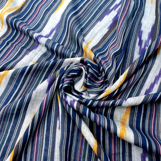 〔170cm×100cm〕ヘビーイカットルンギー - 青×紫×白系 5 - 色彩の国、インドらしい美しい配色。差し色として素敵です。