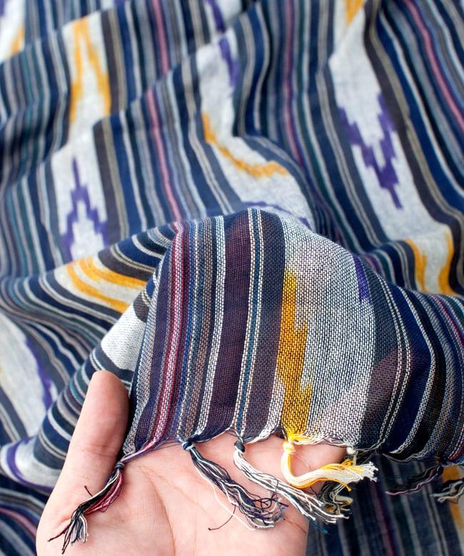 〔170cm×100cm〕ヘビーイカットルンギー - 青×紫×白系の写真7 - このような質感になります