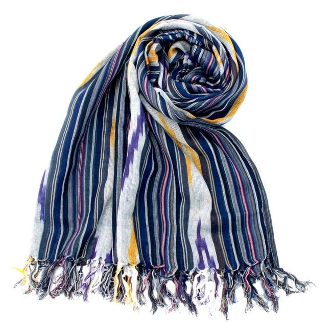 〔170cm×100cm〕ヘビーイカットルンギー - 青×紫×白系の写真
