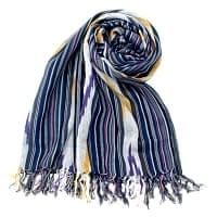 〔170cm×100cm〕ヘビーイカットルンギー - 青×紫×白系