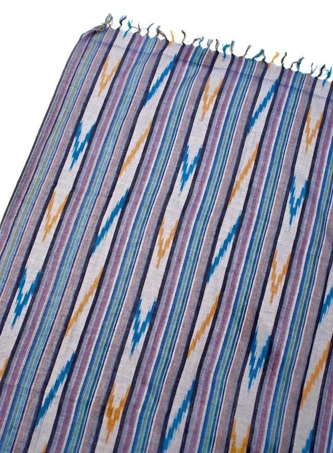 〔170cm×100cm〕ヘビーイカットルンギー - 紫×水色×白系の写真3 - 拡大写真です
