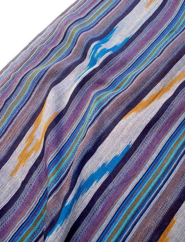 〔170cm×100cm〕ヘビーイカットルンギー - 紫×水色×白系の写真4 - インドコットン生地が使われています