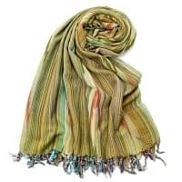 〔170cm×100cm〕ヘビーイカットルンギー - 黄緑系