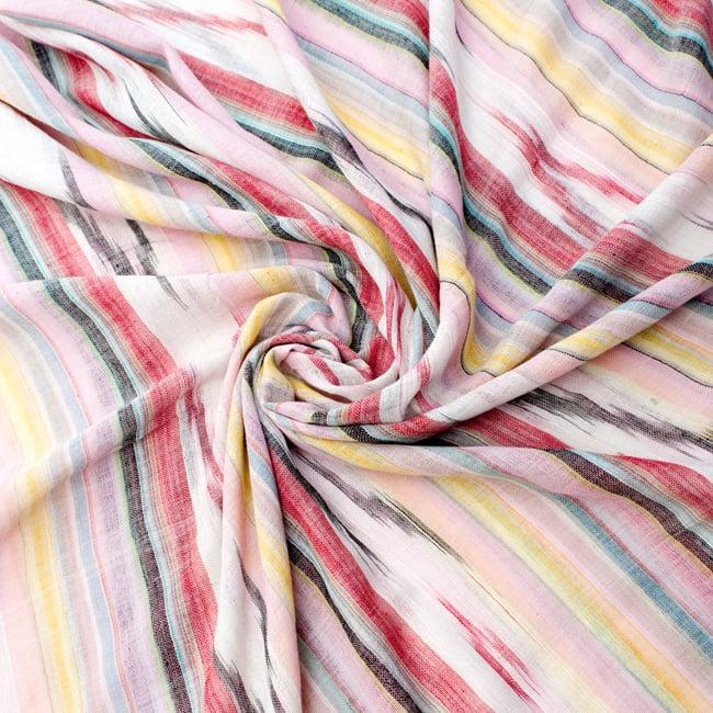 〔170cm×100cm〕ヘビーイカットルンギー - 明るめ薄ピンク系の写真5 - 色彩の国、インドらしい美しい配色。差し色として素敵です。