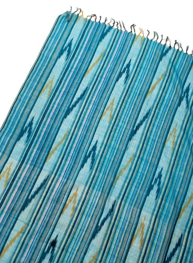 〔170cm×100cm〕ヘビーイカットルンギー - 青緑系の写真3 - 拡大写真です