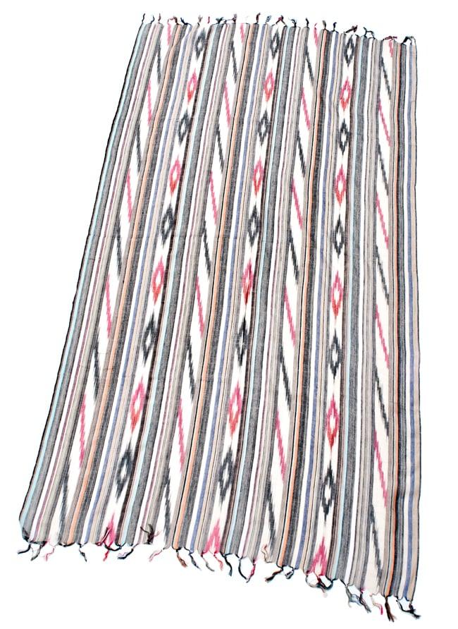 〔170cm×100cm〕ヘビーイカットルンギー - 亜麻色×黒×グレー系の写真2 - 全体の写真です