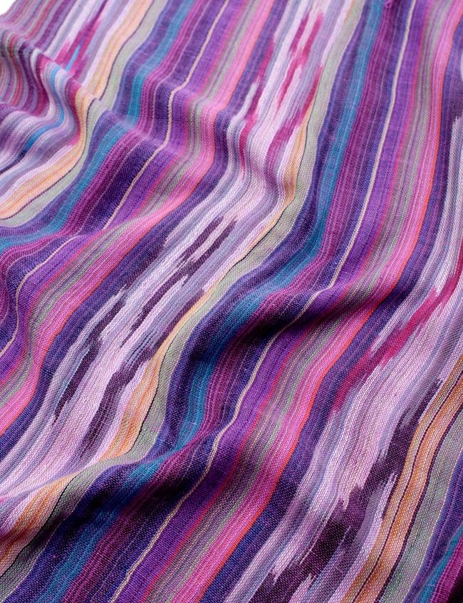 【青・紫系アソート】ヘビーイカットルンギーの写真6 - インドコットン生地が使われています