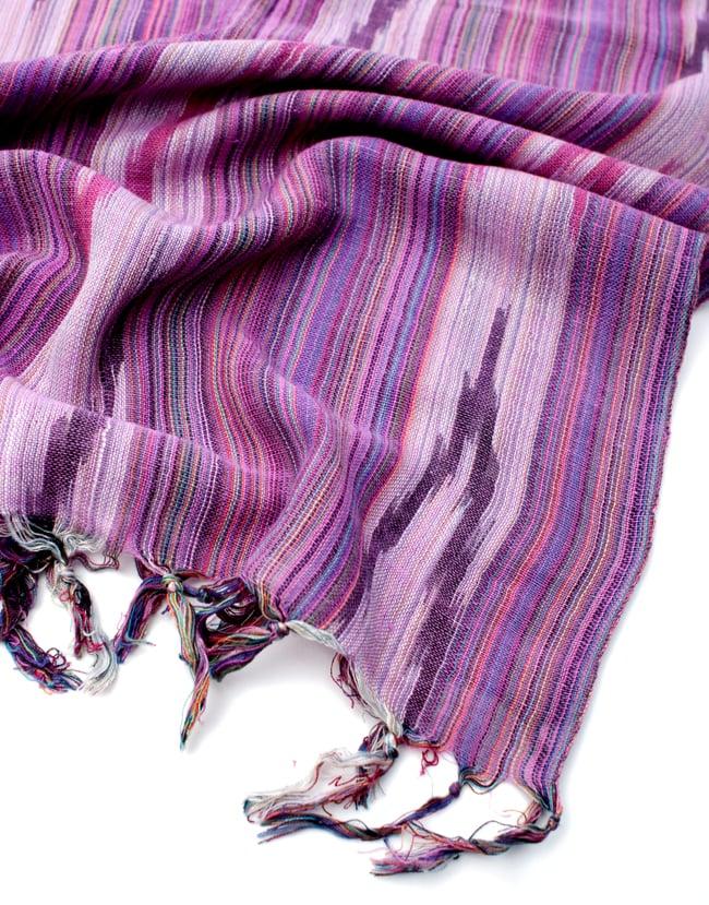 【青・紫系アソート】ヘビーイカットルンギーの写真8 - フリンジの写真です