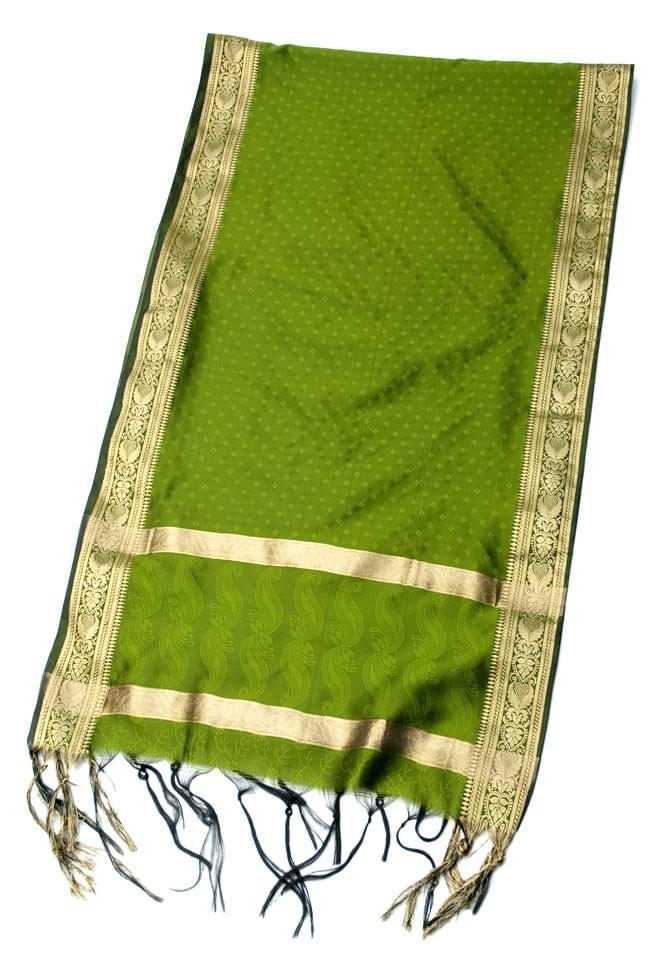 ボーダー入り 光沢スカーフ・デコレーション布 - 格子・オリーブグリーンの写真