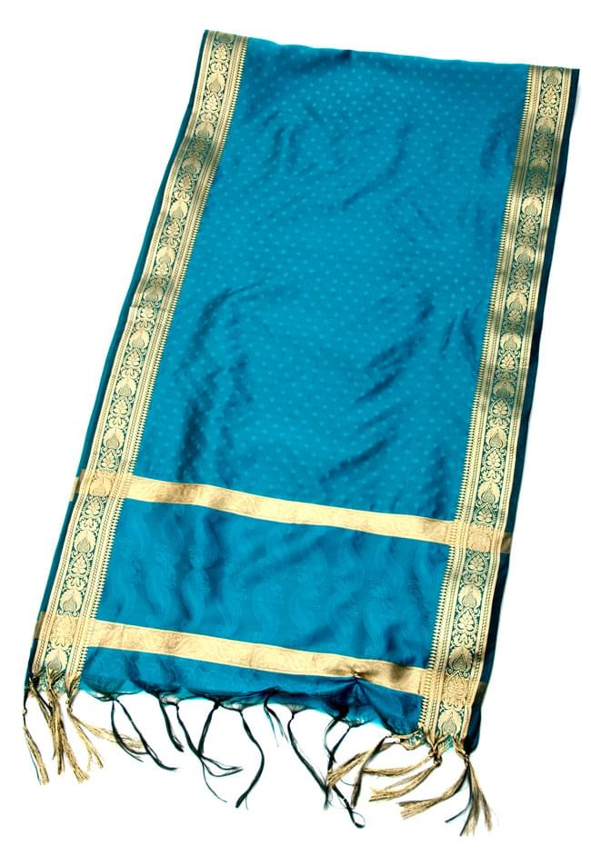 ボーダー入り 光沢スカーフ・デコレーション布 - 格子・ブルーの写真
