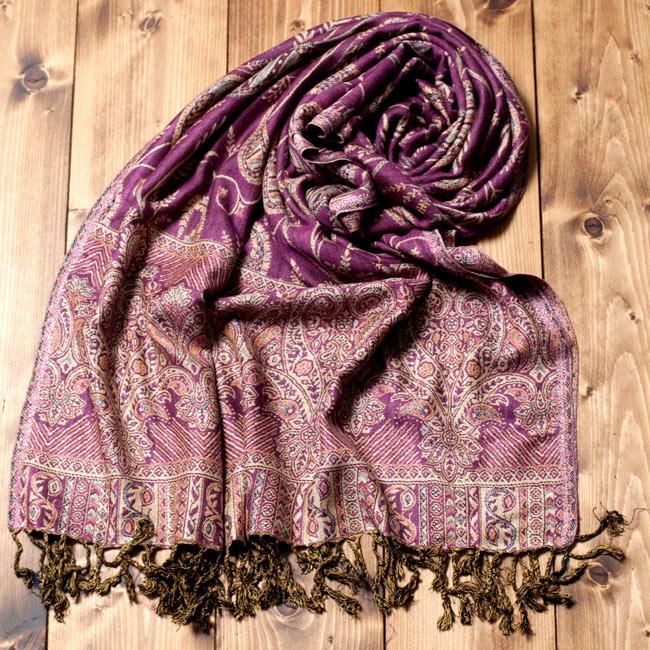 〔200cm×70cm〕インド更紗 伝統チンツ柄ストール - 紫系アソート 2 - 以下の写真は、商品例の一つとなります。