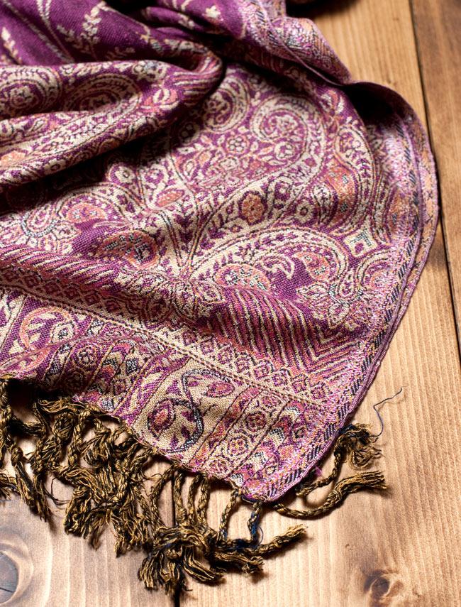 〔200cm×70cm〕インド更紗 伝統チンツ柄ストール - 紫系アソートの写真3 - 縁の拡大写真です