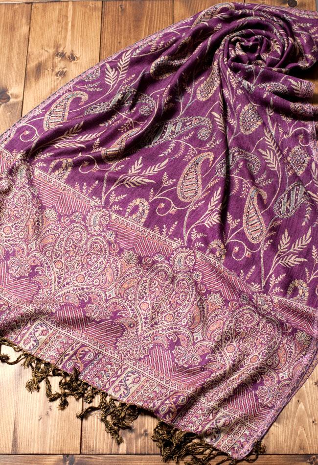 〔200cm×70cm〕インド更紗 伝統チンツ柄ストール - 紫系アソート 4 - 広げた写真です。色合いも綺麗です。