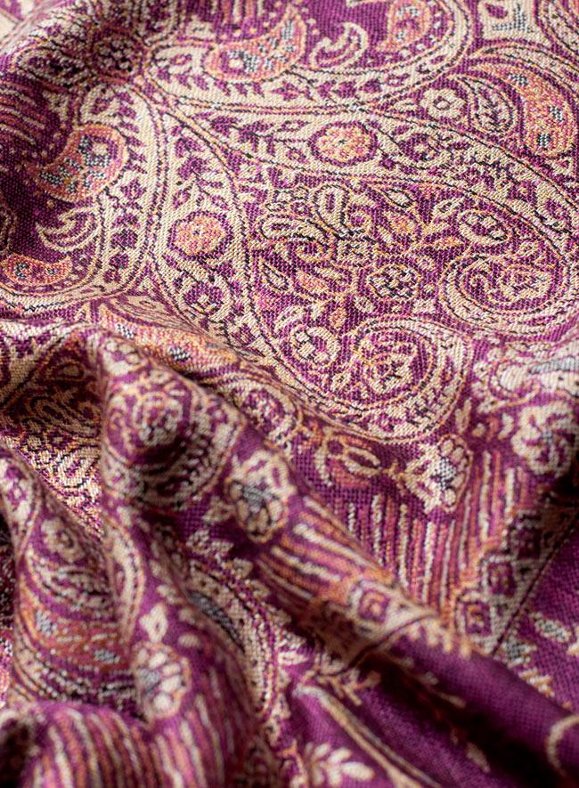〔200cm×70cm〕インド更紗 伝統チンツ柄ストール - 紫系アソートの写真6 - 拡大写真です