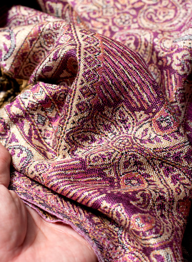 〔200cm×70cm〕インド更紗 伝統チンツ柄ストール - 紫系アソート 7 - 肌触りはチクチクしないので、ウールのマフラーなどが苦手なお客様へもオススメです!