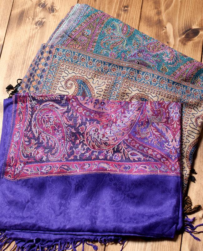 〔200cm×70cm〕インド更紗 伝統チンツ柄ストール - 紫系アソートの写真
