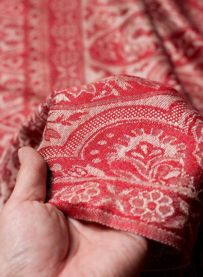 〔200cm×70cm〕インド更紗 伝統チンツ柄ストール - 赤系アソート 7 - 肌触りはチクチクしないので、ウールのマフラーなどが苦手なお客様へもオススメです!