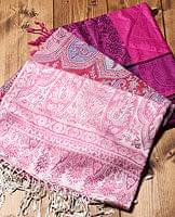 〔200cm×70cm〕インド更紗 伝統チンツ柄ストール - ピンク系アソート