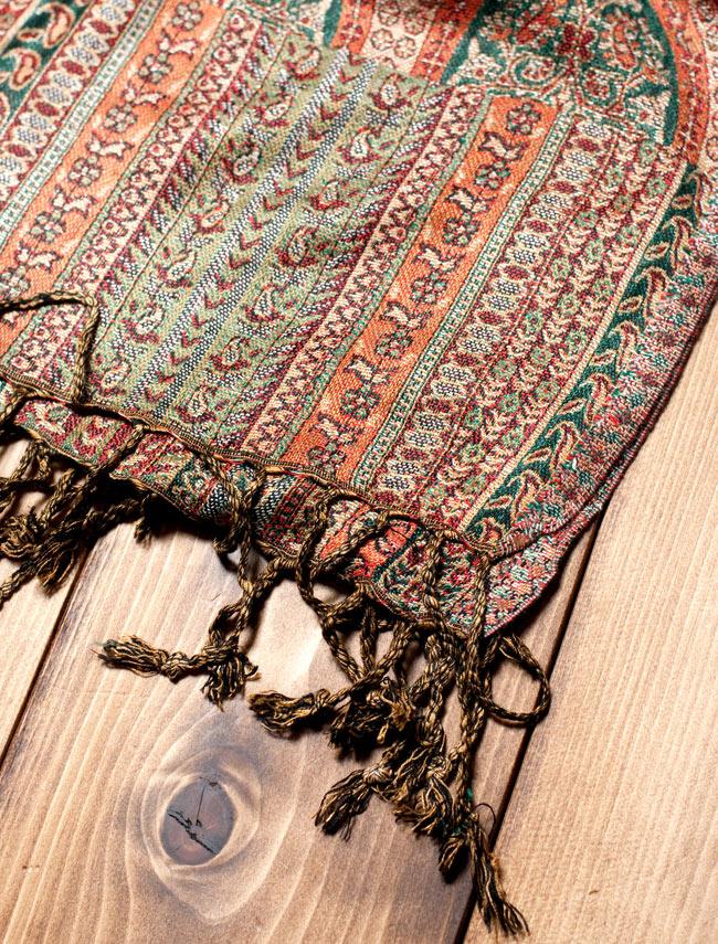 〔200cm×70cm〕インド更紗 伝統チンツ柄ストール - ブラウン系アソートの写真3 - 縁の拡大写真です