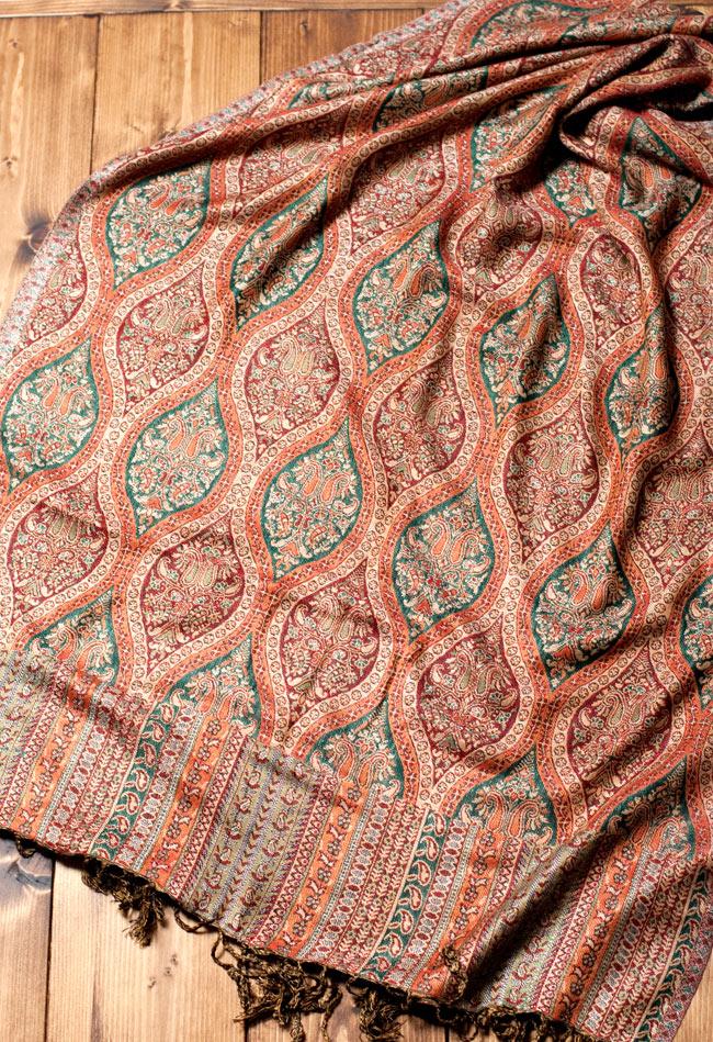 〔200cm×70cm〕インド更紗 伝統チンツ柄ストール - ブラウン系アソートの写真4 - 広げた写真です。色合いも綺麗です。