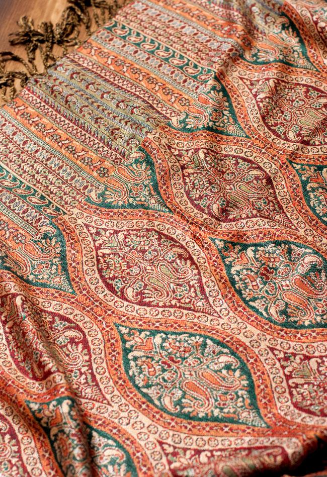 〔200cm×70cm〕インド更紗 伝統チンツ柄ストール - ブラウン系アソートの写真5 - 別の角度からの写真です。模様は伝統的なインド更紗模様です。