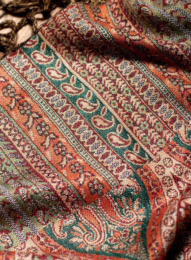 〔200cm×70cm〕インド更紗 伝統チンツ柄ストール - ブラウン系アソートの写真6 - 拡大写真です