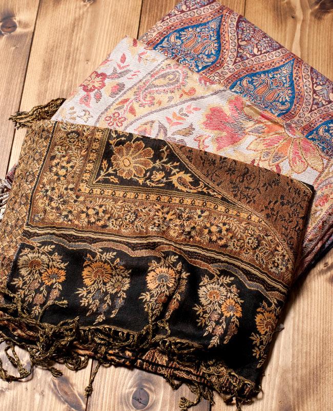 〔200cm×70cm〕インド更紗 伝統チンツ柄ストール - ブラウン系アソートの写真