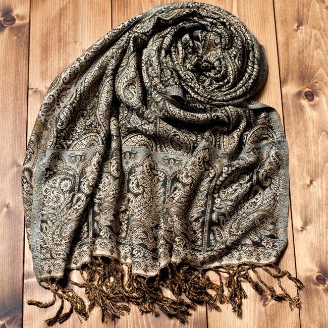 〔200cm×70cm〕インド更紗 伝統チンツ柄ストール - 黒系アソートの写真2 - 以下の写真は、商品例の一つとなります。