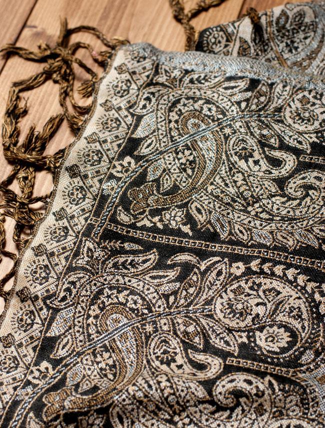 〔200cm×70cm〕インド更紗 伝統チンツ柄ストール - 黒系アソートの写真3 - 縁の拡大写真です