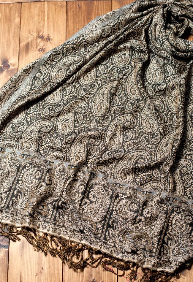 〔200cm×70cm〕インド更紗 伝統チンツ柄ストール - 黒系アソートの写真4 - 広げた写真です。色合いも綺麗です。